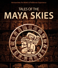 Mayan artwork on a dark brown stone wall