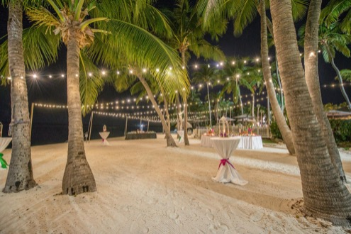 beach reception set up at amara cay resort