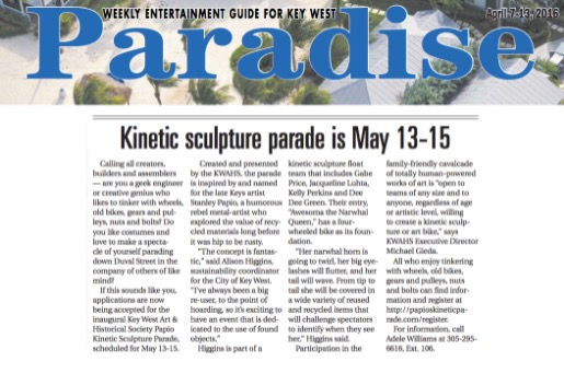 Paradise Newspaper Article on Kinetic Parade