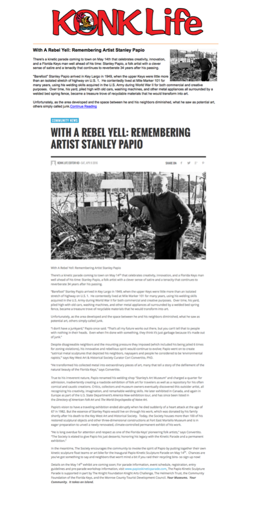 Konk Life Article on Stanley Papio History