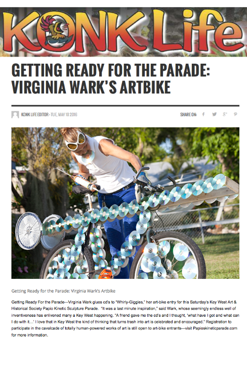 Konk Life Article Virginia Wark Artbike