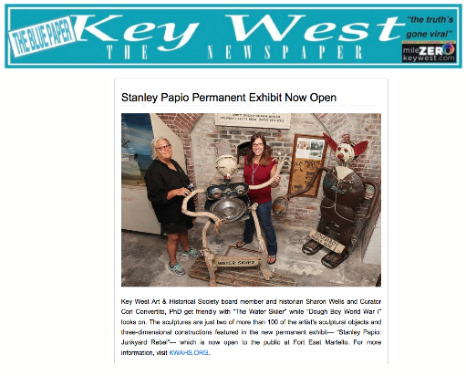 Stanley Papio Permanent Exhibit Open - Blue Paper Article