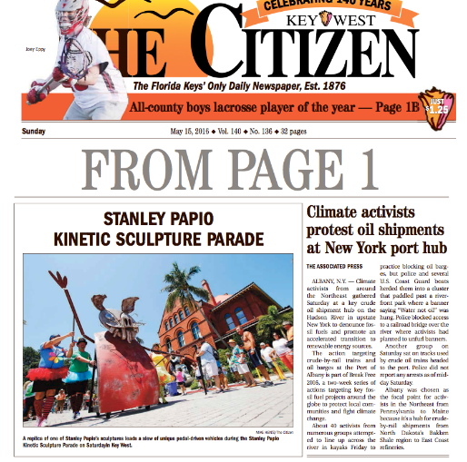 Key West Citizen Newspaper Article Stanley Papio Kinetic Sculpture Parade