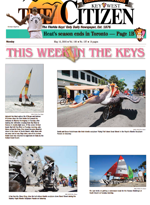 Key West Citizen Newspaper Clipping - Stanley Papio Kinetic Sculpture Parade
