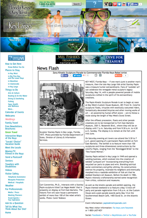 Florida Keys & Key West TDC Article on Stanley Papio Kinetic Sculpture Parade